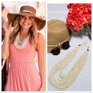 Ivory Beaded Necklace & Earrings
